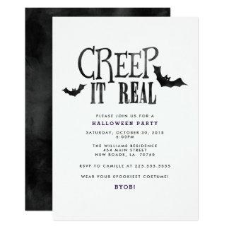 Creep It Real Halloween Party Card