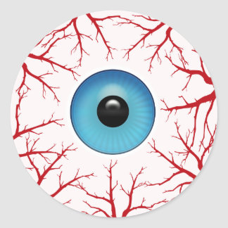 Creepy Bloodshot Eyeball Classic Round Sticker