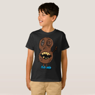 Creepy Brown Peanut Psycho Blue Shoes Kids T-Shirt