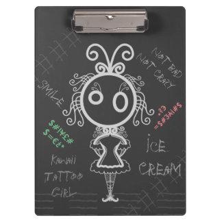 Creepy Cartoon Kawaii Tattoo Girl Clipboard