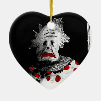 Creepy clown ceramic ornament