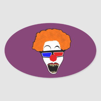 Creepy Clown in Red Blue 3D Glasses Oval Sticker