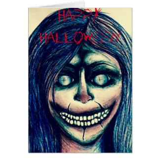Creepy clown woman Halloween card