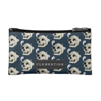 Creepy Crawler Skull with First Name Makeup Bag