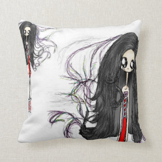 Creepy Cute and Artsy Throw Pillow