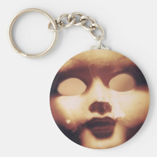 Creepy Doll Basic Round Button Key Ring