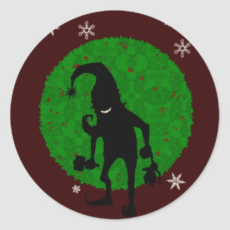 Creepy elf classic round sticker