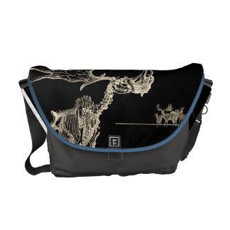 Creepy Elk Skeleton with Deer Animal Bones Courier Bag