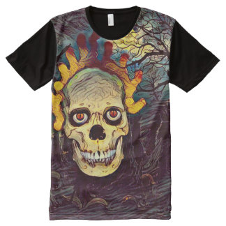 Creepy Flaming Ghost Skull Dark Horror Theme Art All-Over Print T-Shirt