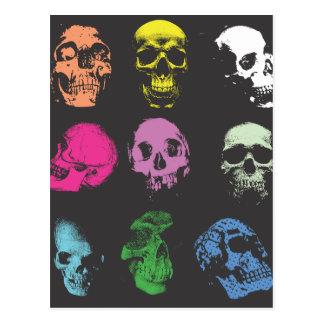 Creepy Fluo Skulls Postcard