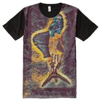 Creepy Frankenstein Monster Fish Dark Horror Art All-Over Print T-Shirt