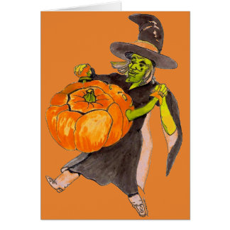 Creepy Funny Halloween Dancing Pumpkin Witch Color Card