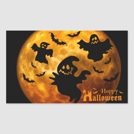 Creepy Ghost, Vampire Bats and Halloween Moon Rectangular Sticker