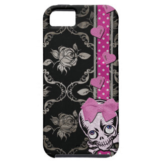 Creepy Girl Skull with Pink Bow on Black Damask Case For The iPhone 5
