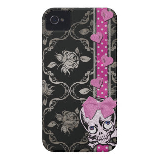 Creepy Girl Skull with Pink Bow on Black Damask iPhone 4 Case-Mate Case