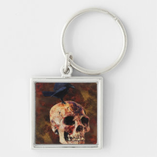 Creepy Gothic Skull and Crow - Halloween Horror Keychain