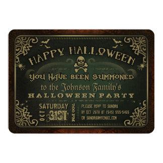 Creepy Green & Gold Happy Halloween Party Invite