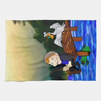 Creepy guy is fishing tea towel
