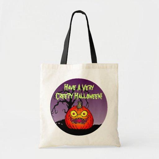 Creepy Halloween Jack-O-Lantern Tote Bag