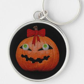 Creepy Halloween Jack O' Lantern Silver-Colored Round Key Ring