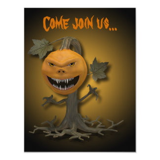 Creepy Halloween Pumpkin Tree - Invitation