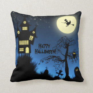 Creepy Haunted House Halloween Decorative Pillows