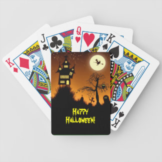 Creepy Haunted House Halloween Poker Cards