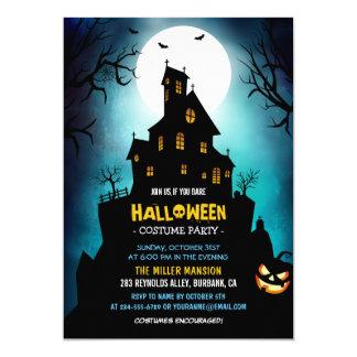 Creepy Haunted House Scary Halloween Party Card