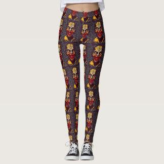 Creepy Illuminati Vampire Dark Horror Art Leggings