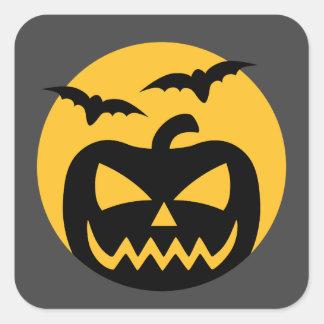 Creepy Jack-O-Lantern and bats Square Sticker