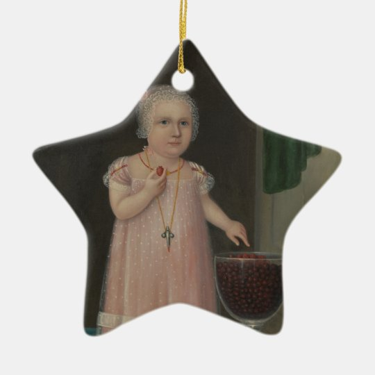 Creepy Little Girl Eats Candy Ceramic Ornament