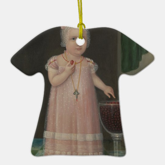 Creepy Little Girl Eats Candy Ceramic Ornament