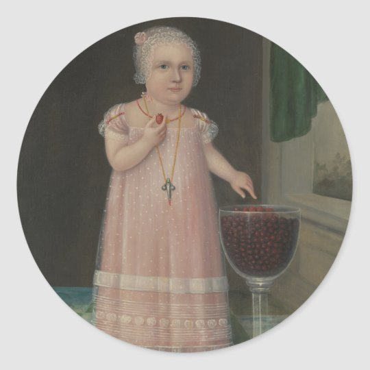 Creepy Little Girl Eats Candy Classic Round Sticker