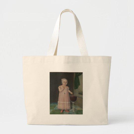 Creepy Little Girl Eats Candy Large Tote Bag