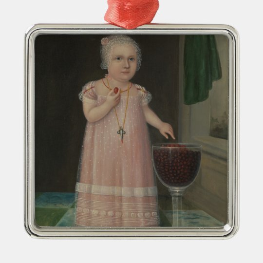 Creepy Little Girl Eats Candy Metal Ornament