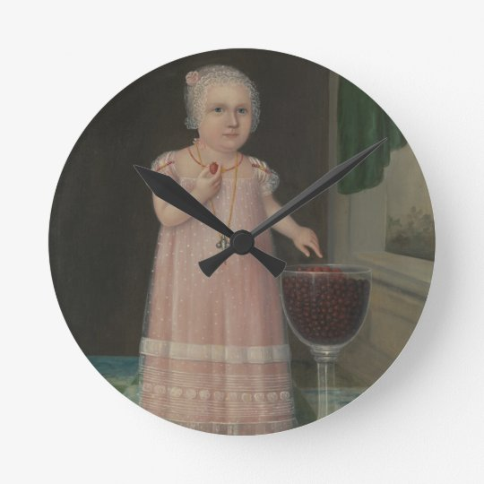 Creepy Little Girl Eats Candy Round Clock