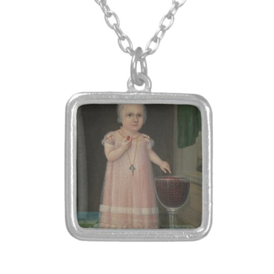 Creepy Little Girl Eats Candy Silver Plated Necklace