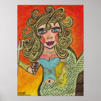 """Creepy Mermaid"" Poster"