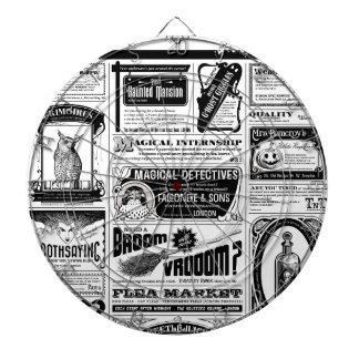 creepy newspaper dartboard