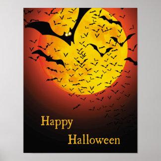 Creepy Orange Moon and Bat Halloween Poster