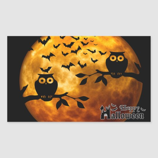 Creepy Owls, Vampire Bats and Halloween Moon Rectangular Sticker