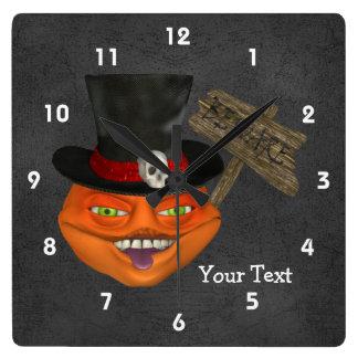 Creepy Pumpkin Face In Top Hat Square Wall Clock