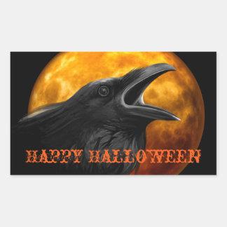 Creepy Raven and Halloween Moon Rectangular Sticker
