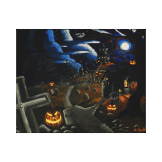 Creepy, scary faces and haunting's (Painting) Canvas Print