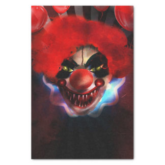 Creepy Scary Killer Clown Halloween Gift Wrap Tissue Paper