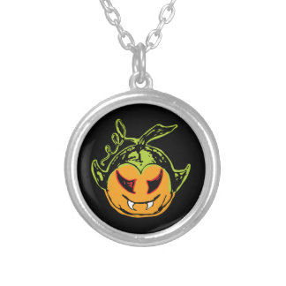Creepy & Scary Vampkin Face Silver Plated Necklace
