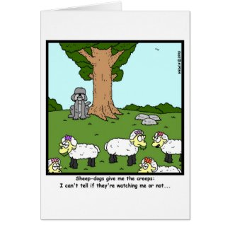 Creepy sheep-dog... card