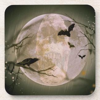Creepy Skull in Full Moon with Flying Birds & Tree Drink Coasters