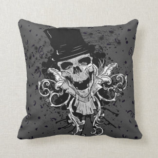 Creepy Skull With Top Hat Cushion