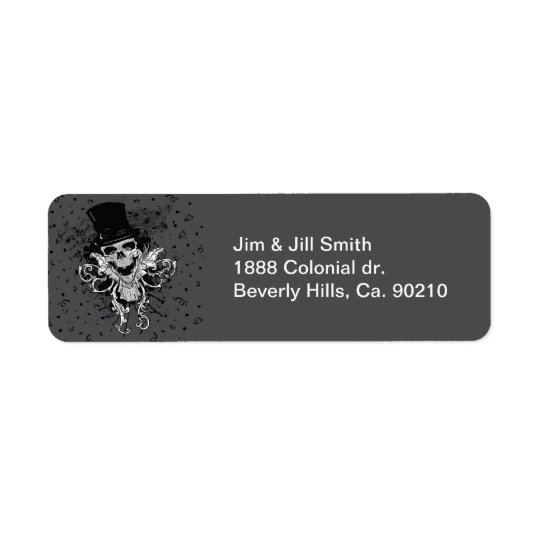 Creepy Skull With Top Hat Return Address Label